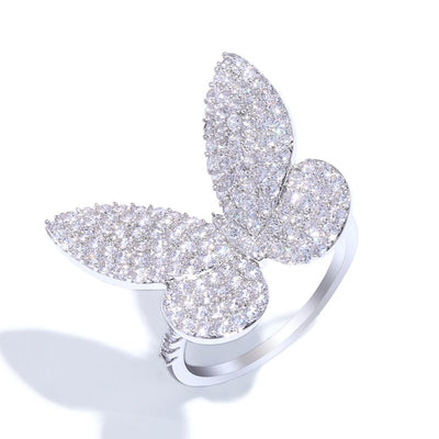 Beautifully Embellished Butterfly Cocktail Fashion Ring
