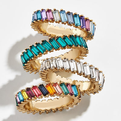 Rainbow Crystal Pave Stackable Finger Fashion Ring
