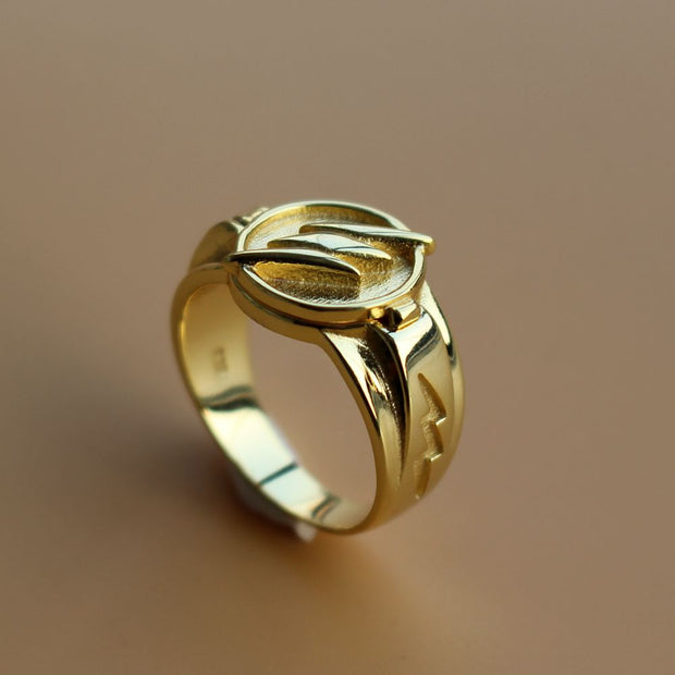 18k Open & Close Thunderbolt Patterned 925 Sterling Silver Ring
