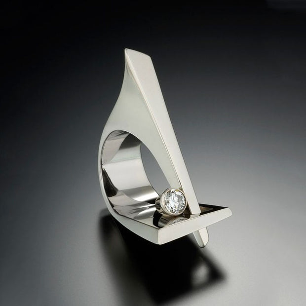 Unique Irregular Shaped Angular Silver Filled Ring