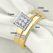2 Piece Yellow Gold Color Bridal Sterling Silver Ring Set