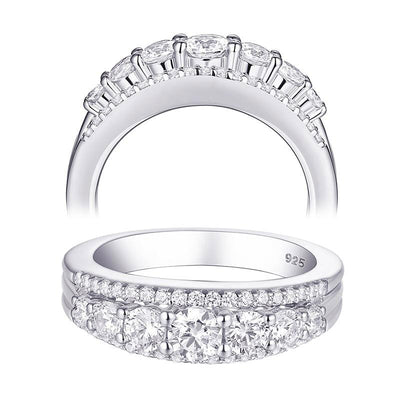 White AAA Cubic Zircon 925 Sterling Silver Eternity Ring