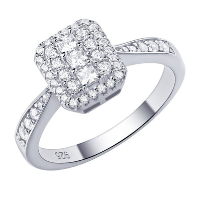 Princess Cut CZ Gemstone & 925 Sterling Silver Ring