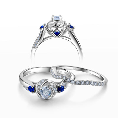 Round Cut Blue CZ Side Stone 925 Sterling Silver Bridal Ring Set