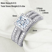 3 Piece 925 Sterling Silver 2.8 ct Princess Cut Bridal Ring