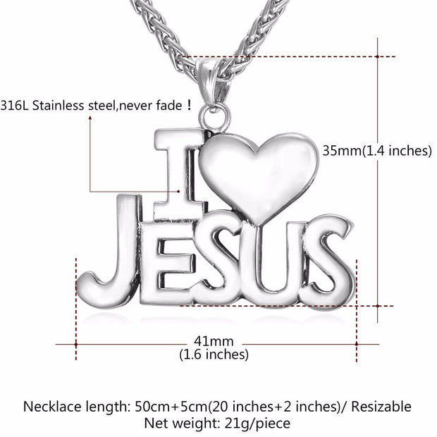 Men's I Love Jesus Heart Pendant & Necklace
