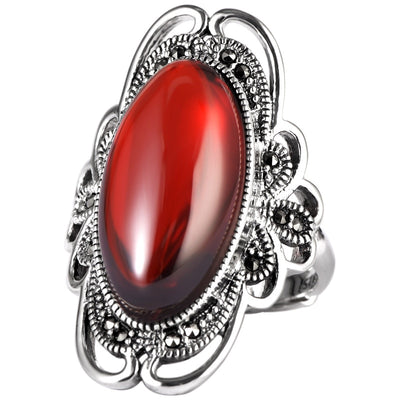 Vintage S925 Mosaic Garnet Hollow Open Adjustable Ring