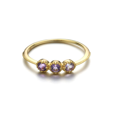 Amethyst Gemstone Promise Ring In 14k Gold Plate & Sterling Silver