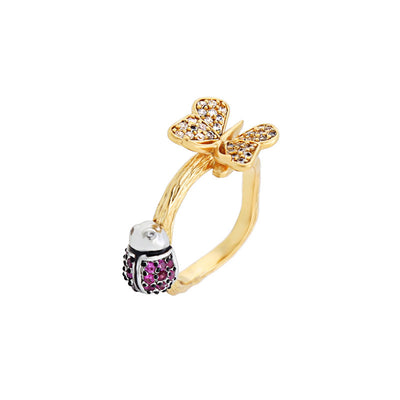 Cute Ladybug & Butterfly Fashion Ring