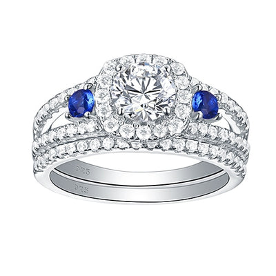 925 Sterling Silver White & Blue Round Cut Engagement Ring