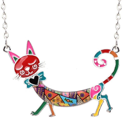 Statement Maxi Colorful Enamel Kitty Cat Necklace