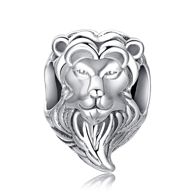 Sterling Silver Lion Head Bead Charms