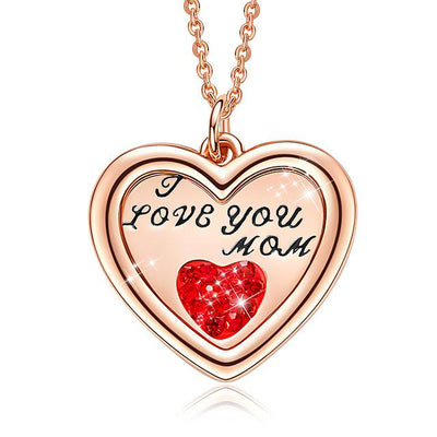 "Crystal from Swarovski ""I Love You Mom"" Heart Pendant Necklace"