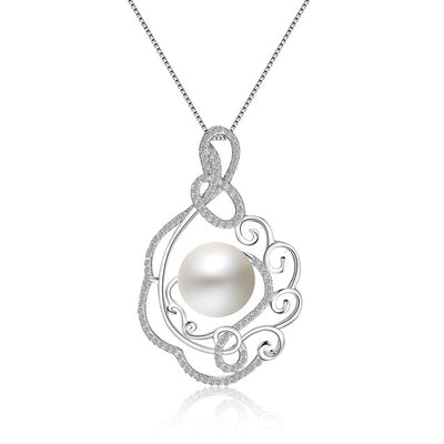 Sterling Silver Flower & Pearl Fashioned Necklace