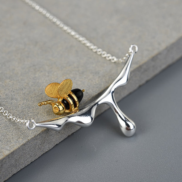 Honey Drip Bumble Bee Handmade Sterling Silver Necklace