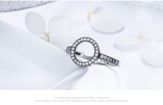 925 Sterling Silver Forever Clear CZ Circle Ring