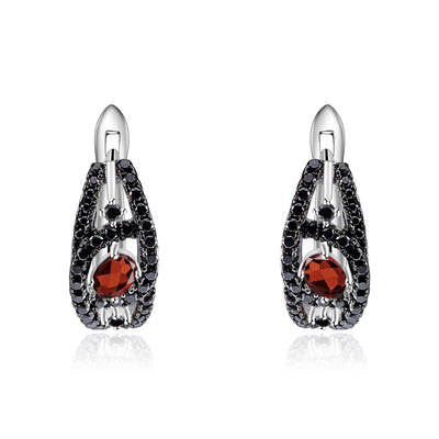 Natural Red Garnet 925 Sterling Silver Gemstone Earrings