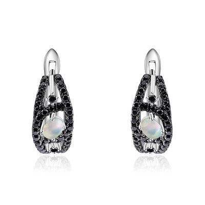 Natural Ethiopia Opal Gemstone 925 Sterling Silver Earrings