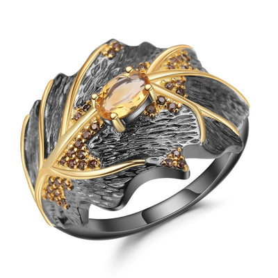 Natural Citrine Leaf Shaped 925 Sterling Silver Ring