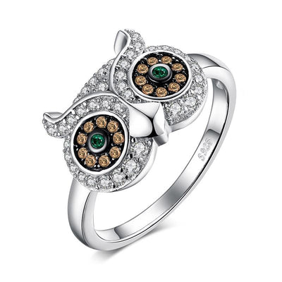 Unique Owl With Nano Emerald & 925 Sterling Silver Ring