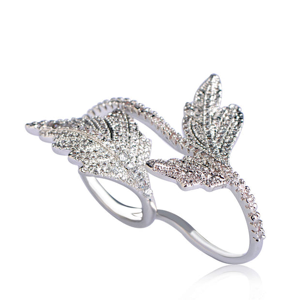 Luxury Double Leaf Two Finger Fashion Ring