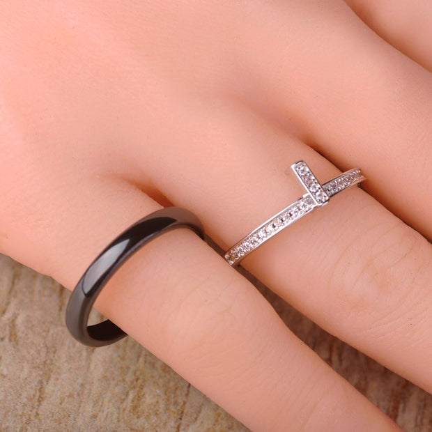 Double Ceramic Style Detachable Fashion Rings