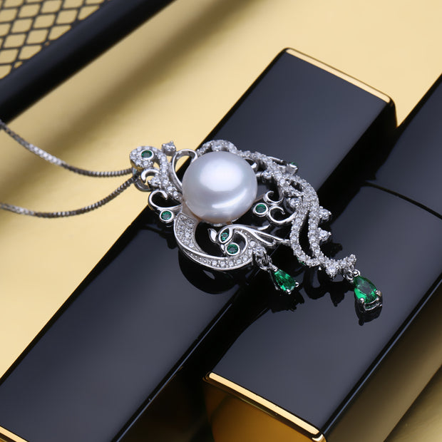 Phoenix Pearl Pendant 925 sterling silver necklace