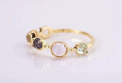 18K Gold Plate & Sterling Silver Topaz Crystal Gemstone Ring