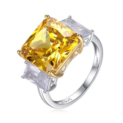 925 Sterling Silver & Yellow Topaz Crystal Ring