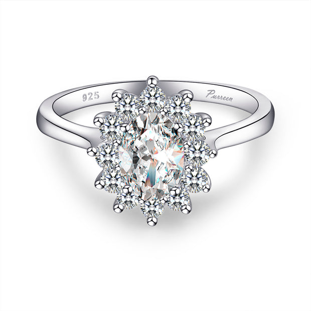 Gorgeous 925 Sterling Silver & Cubic Zirconia Studded Ring