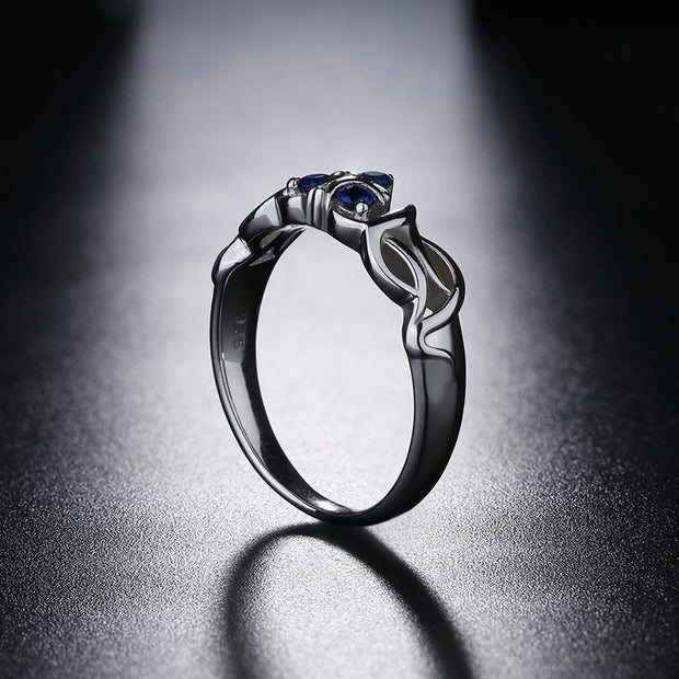 Japanese Game Inspired Crystal & 925 Sterling Silver Ring