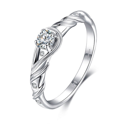 925 Sterling Silver Vine Wrapped Cubic Zirconia Ring