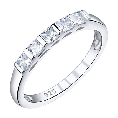 Princess Cut 5 Gemstone 925 Sterling Silver Ring