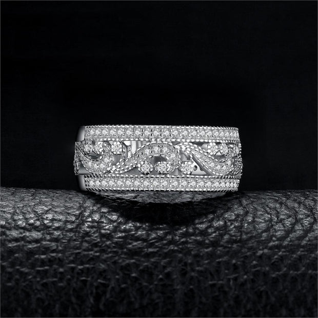 Wide CZ Eternity Band 925 Sterling Silver Ring