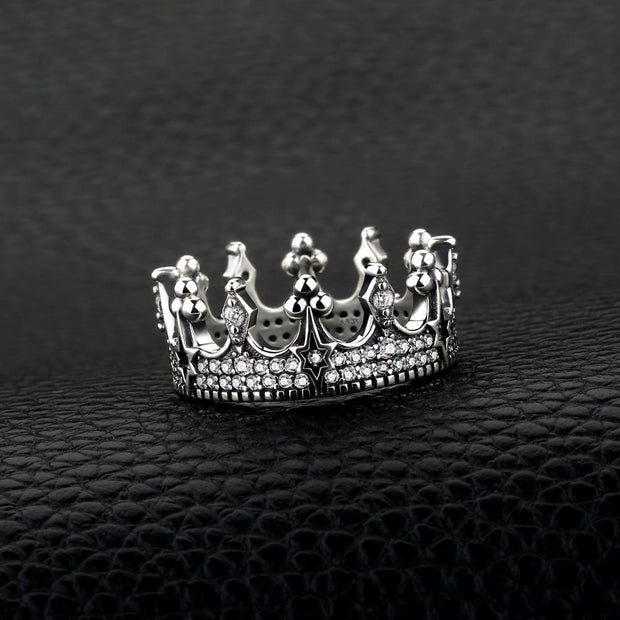 Vintage Cubic Zirconia Tiara Crown 925 Sterling Silver Ring
