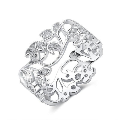 Secret Garden Hand Mosaic Sterling Silver CZ Ring