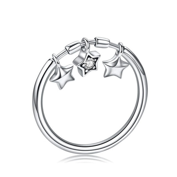 Glittering Heart, Star Or Puppy Paw Print 925 Sterling Silver Ring