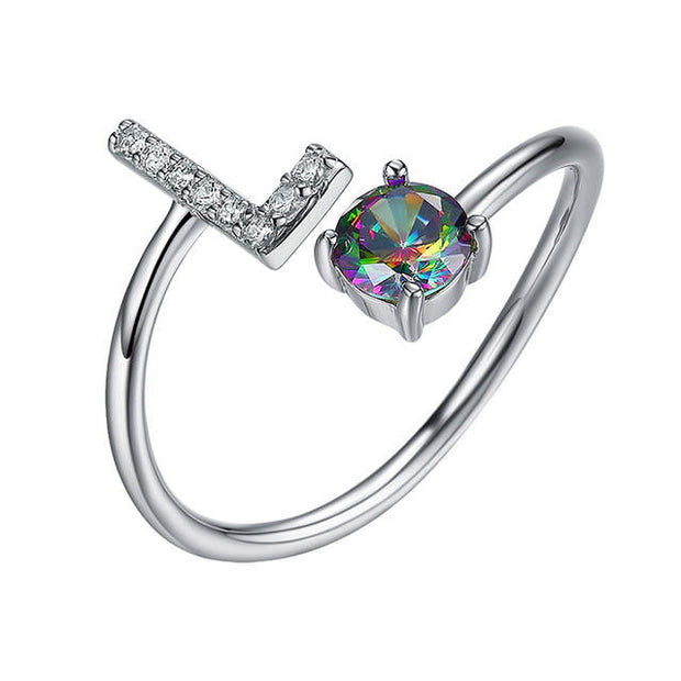 Rainbow Topaz Alphabet Letter 925 Sterling Silver Adjustable Rings