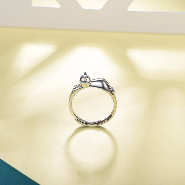 925 Sterling Silver Cute Lazy Cat Ring