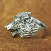 925 Sterling Silver High Detailed Fierce Wolf Biker Punk Ring