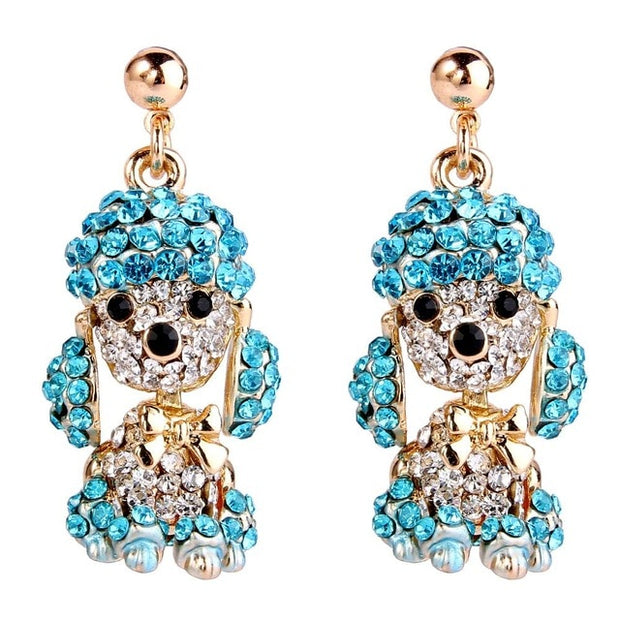 Austrian Crystal Cute Puppy Dog Poodle Earrings