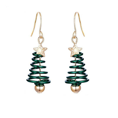 Christmas Tree & Star Hook Drop Enamel Earrings