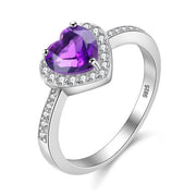 925 Sterling Silver Ring Love Heart Amethyst Ring
