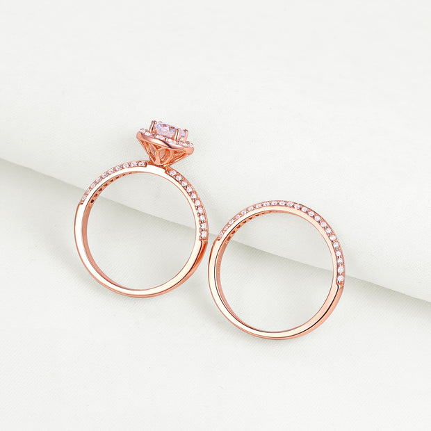 14K Rose Gold Halo 2 Piece Bridal Zirconia Ring Set