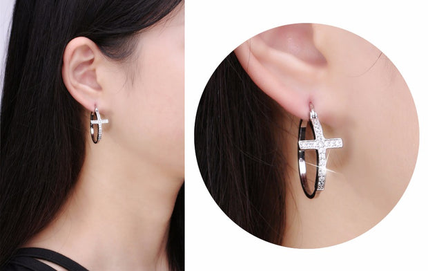 Large Cross Hoop Loop Paved Austrian Crystal Earring