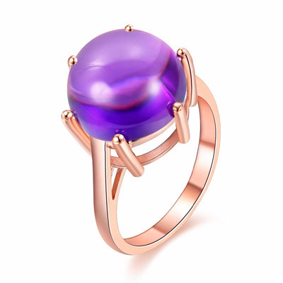 Purple Amethyst Rose Gold Plate & 925 Sterling Silver Ring