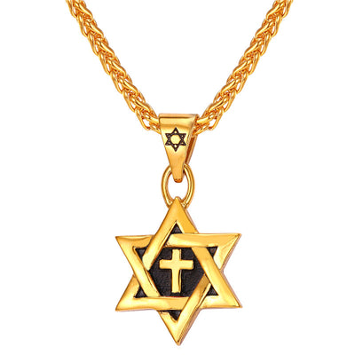 Star of David Cross Stainless Steel Jewish Necklace Pendant