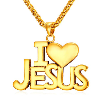 I Love Jesus Heart Pendant Necklace