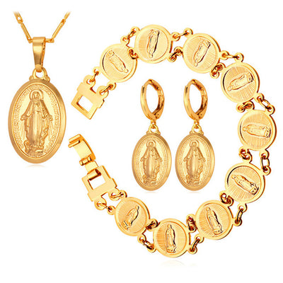 Virgin Mary Fashion Earrings Bracelet Necklace 3 Piece Set