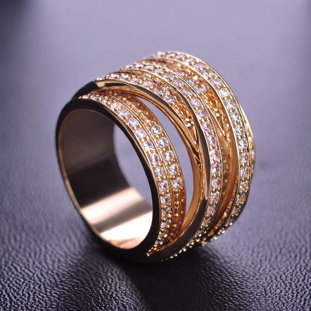 Luxury Multi-layer Cubic Zirconia Finger Ring